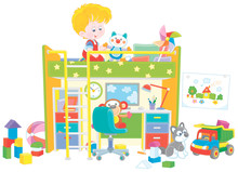 Happy Little Boy Playing With Toys In His Playroom With A Funny Color Bed And A Table With A Computer And A Lamp, Vector Cartoon Illustration On A White Background
