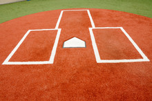 Close Up Of A Baseball Home Plate And Batters Box