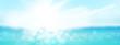 Leinwandbild Motiv Summer tropical sea with sparkling waves and blue sunny sky