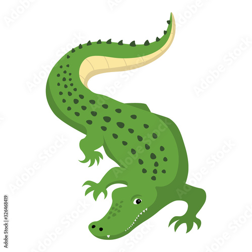 Photo Predatory alligator crocodile with open mouth and fangs, wild animal vector isol