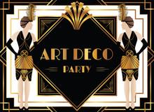 Geometric Art Deco Design With Fashionable Woman