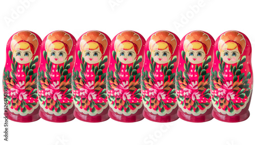 Russian doll matryoshka or babushka pattern on white background Canvas Print