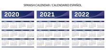 Spanish Blue Calendar 2020-2021-2022 Vector