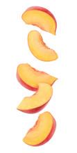 Peach Fruit Pieces In The Air....