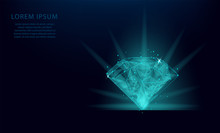 Abstract Template Of A Diamond In The Form Of A Starry Sky Or Space, Consisting Of PointLow Polygon Diamond Wireframe Mesh On Blue Background. Vector Business Wireframe Concept.