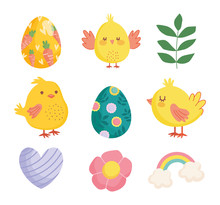 Happy Easter Cute Chickens Eggs Flower Heart Rainbow Decoration