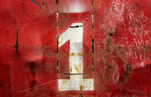 Numbers 1 (one) On An Old Rusty Metal Background. Texture Of Old Paint And Rust On The Numbers