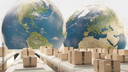 Obraz air planes and logistic center in front of globes 3d-illustration. elements of this image furnished by NASA - fototapety do salonu