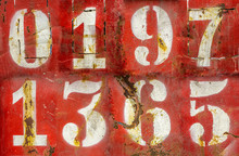 Numbers On An Old Rusty Metal ...