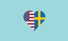 USA Sweden Heart Shape Love Sy...
