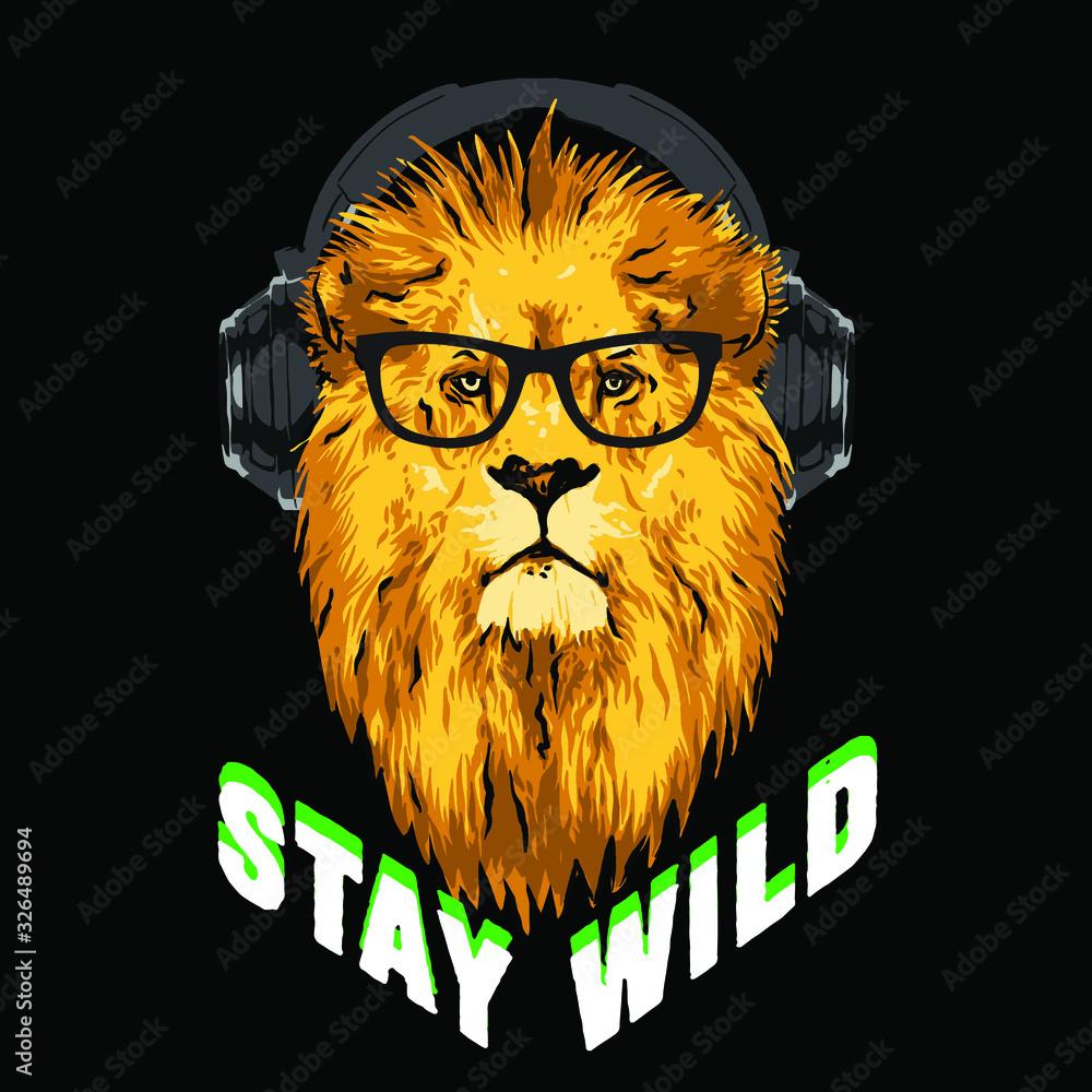 Fototapeta illustration of lion listening music with headphones. Vector illustration .