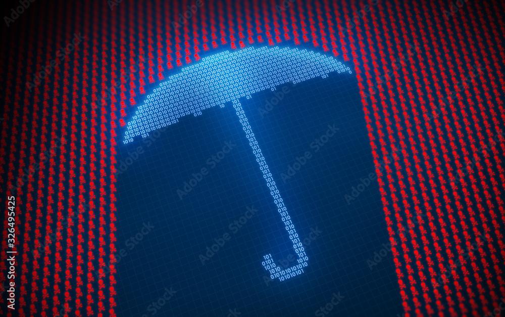 Fototapeta Malware and cyber attack concept 3D illustration