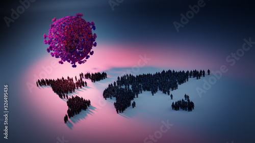 Obraz Global corona virus pandemic threat - 3D illustration - fototapety do salonu