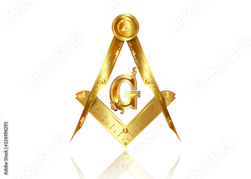 Fotografija Gold freemasonry emblem - the masonic square and compass symbol