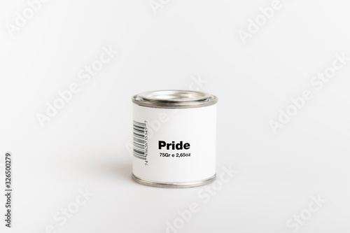 Canvas 75gr of canned pride with white background