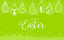 Happy Easter Card With Easter Bunny And Hanging Easter Eggs Background
