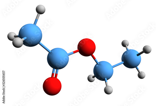 3D image of ethyl acetate skeletal formula - molecular chemical structure of eth Wallpaper Mural