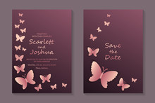 Modern Luxury Card Template For Business Or Presentation Or Greeting With Rose Gold Butterflies On A Pink Background.