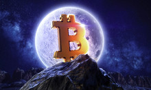 Moon Bitcoin Live. Btc Price Double Investment. Moonlight Space Logo With Mountain Shine