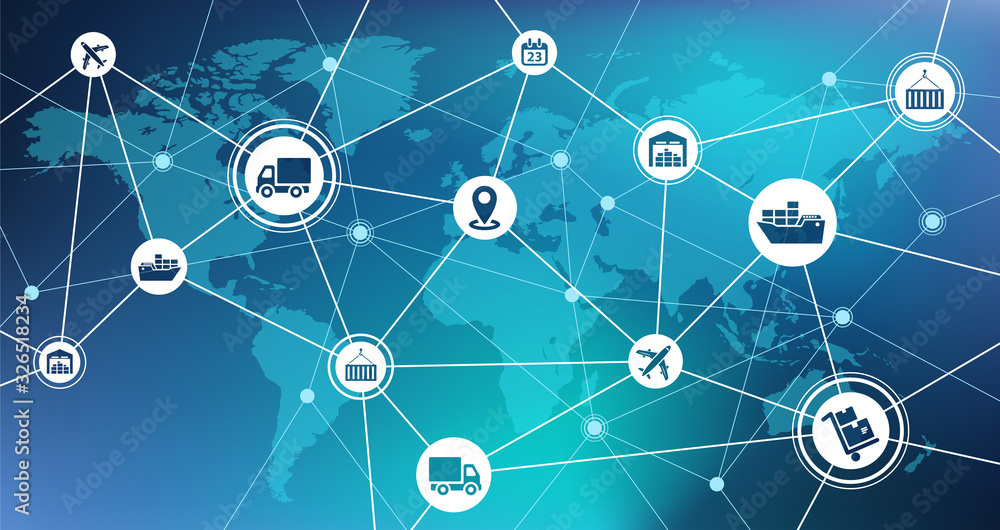 Fototapeta Global shipping and supply chain vector illustration. Abstract concept with world map background and connected icons related to international import / export, distribution and transportation.