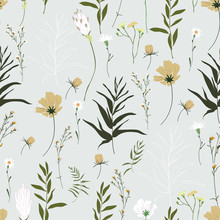 Blossom Floral Seamless Pattern. Trendy Colorful Vector Texture. Blooming Botanical Motifs Scattered Random. Good For Fashion. Ditsy Print. Hand Drawn Different Wild Meadow Flowers On Grey Background