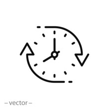 Change Or Update Date Icon, Forward Or Back Time On Clock, Reverse Time, Thin Line Web Symbol On White Background - Editable Stroke Vector Illustration