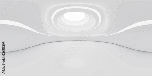 Full 360 degree equirectangular panorama hdri of modern futuristic white building interior 3d render illustration