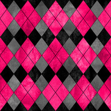 Colorful Argyle Seamless Plaid Pattern. Watercolor Hand Drawn Texture Background.