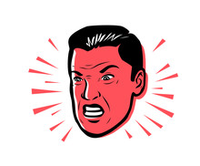 Angry Man Furious. Vector Illustration Style Pop Art Retro