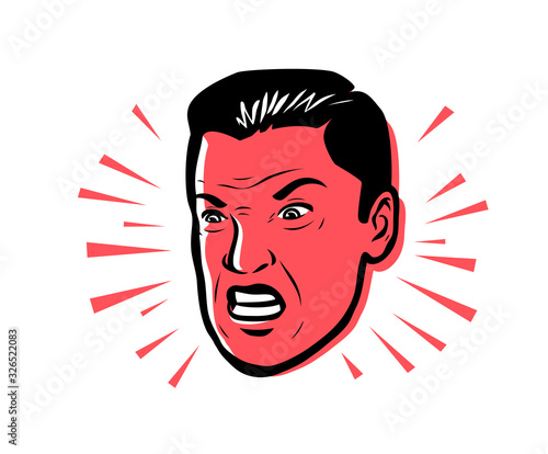 Angry man furious. Vector illustration style pop art retro Tapéta, Fotótapéta