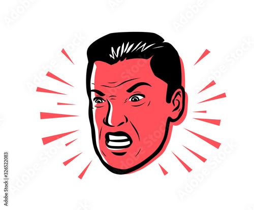 Fényképezés Angry man furious. Vector illustration style pop art retro