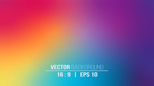 Abstract Blurred Gradient Background In Bright Rainbow Colors. Colorful Smooth Banner Template. EPS10 Without Transparency.