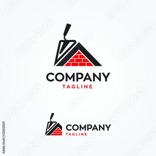 Cuadros en Lienzo Masonry tool with house logo vector template