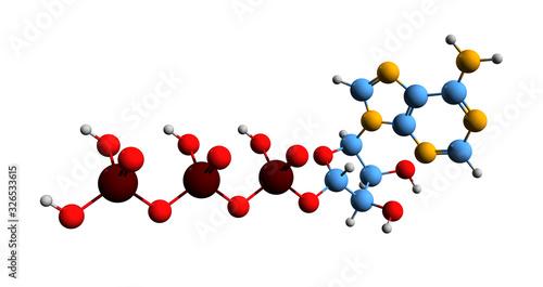 3D image of ATP skeletal formula - molecular chemical structure of Adenosine tri Fototapet