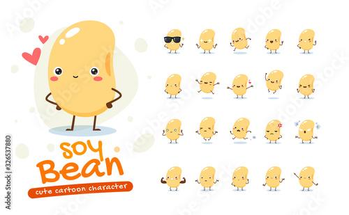 Mascot Set of the Soy Bean Canvas Print