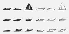 Sailing Boat Icon Set Water Tr...