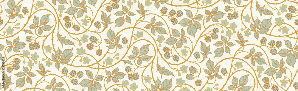 Fototapeta Floral botanical blackberry vines seamless repeating wallpaper pattern- serene gold and pale turquoise version