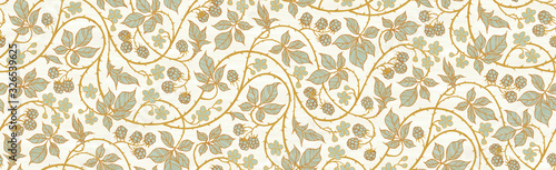 Obraz Floral botanical blackberry vines seamless repeating wallpaper pattern- serene gold and pale turquoise version - fototapety do salonu