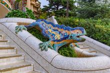 The Mosaic Lizard Sculpture In Park Guell, Barcelona, Spain