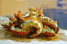 Plate Of Freshly Grilled Spiny Lobster Tails