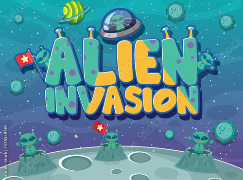 Poster design with alien invasion theme Canvas Print
