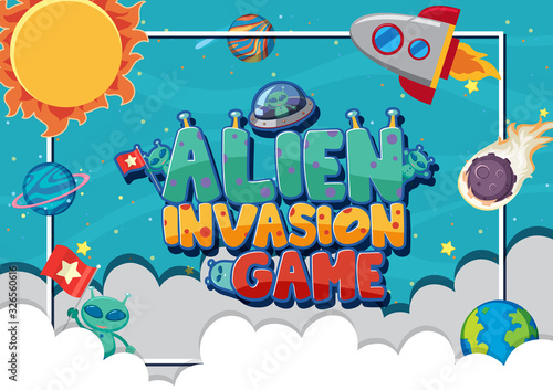 Poster design for alien invasion game with aliens in background фототапет