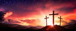 canvas print picture - Three Wooden Crosses At Sunrise With Clouds And Starry Sky Background - Death And Resurrection Of Jesus Christ