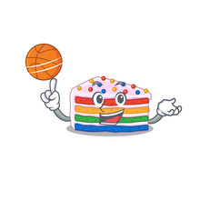 A Mascot Picture Of Rainbow Cake Cartoon Character Playing Basketball