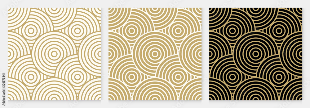 Fototapeta Background pattern seamless geometric line circle design abstract gold luxury color vector. Christmas background.
