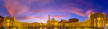 Panoramic View Of St. Peter's Basilica And Square In Vatican City At Sunset Time