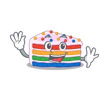 Waving Friendly Rainbow Cake M...