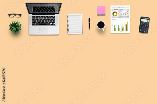 Fototapety, obrazy: Top view office desk and supplies, with copy space. Creative flat lay photo of workspace desk/Panoramic banner background
