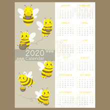 Calendar 2020. One Page 12 Months Calendar With Cute Flying Bee Carrying Basket Of Honey. Printable Bee Calendar Template, Vector Design. New Year Calendar.