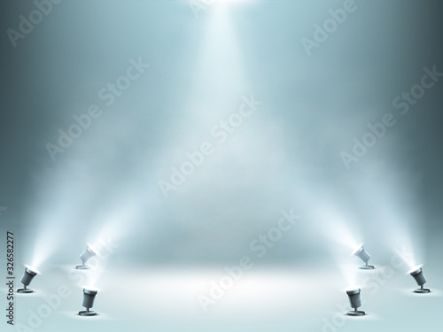 Obraz Stage illuminated by spotlights with smoke effect, empty podium or stage for award ceremony, product presentation or fashion show performance, studio theater interior, Realistic 3d vector illustration - fototapety do salonu